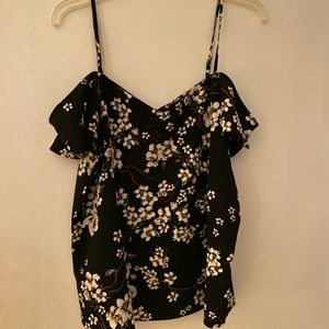 Black floral camisole with cap sleeves